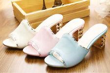 Zapatos zapatillas zuecos sandalias tacón alto 5 cm joya azul élégant 9302