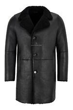 Men Sherling Sheepskin Coat Black Classic Real Shearling Trench Reefer Warm Coat