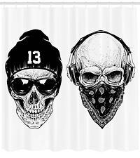 Black White Shower Curtain Funny Skull Band Print for Bathroom