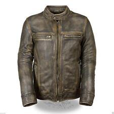 Distressed Men's Biker Vintage Style Racer Motorcycle Leather Jacket