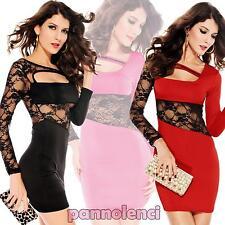 Miniabito vestito PIZZO floreale donna vestitino abito moda lace dress  DL-780 50490211f62