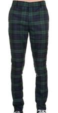 Run & Fly mod 60s vintage beatnik style slim classic green/black tartan trousers