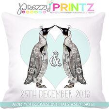 ❤ Cuscino Pinguino Personalizzata Anniversario Di Matrimonio Regalo Natale San Valentino Amore