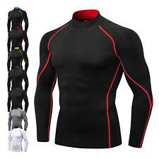 Men's Compression T-Shirt Mock Neck Skin Base layer Pro Workout Top Long Sleeve