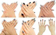 Nailhur Oval Designs #1 - Reusable Fake Press Glue On Nails Tips Marble Metallic
