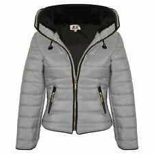 Veste fille enfants rembourré argenté gilet bulle col en fourrure matelassé chaud épais manteau