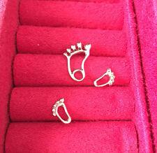 "baby feet necklace earrings 925 Sterling silver 18"" love heart baby shower Gift"