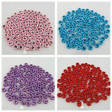 100PCS X 6MM Single Colour Alphabet FLAT ROUND Beads - PINK BLUE RED & PURPLE