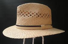 Men's Hat Straw Raffia Sun Protection Straight Brim Vacation Garden straßenhut