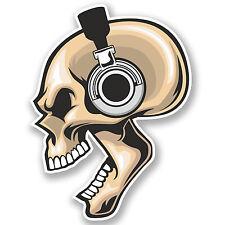 2 x auriculares del cráneo pegatina de vinilo Ipad Laptop música Kids Skate Coche Regalo # 4451