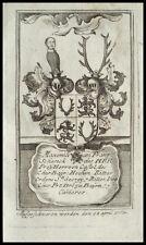 1773 Wappen Freiherr v Schenk von Castell Ritter bayerischer Georgsorden Kupfer