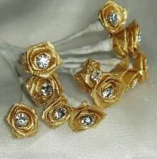 12 Wedding Flowers Diamante Satin Ribbon Rose Bridal  All Colours