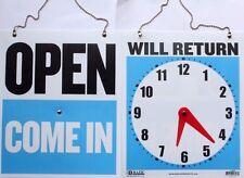 Business Hours Sign Clock Face Plastic Door Shop Store Opening Times Waterproof
