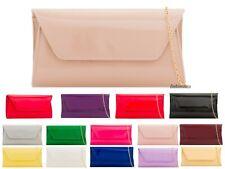 Women's Patent Plain Leather Envelope Shiny Shoulder Chain Clutch Bag 14 Colour