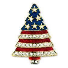 PinMart's Rhinestone Patriotic Christmas Tree Holiday Brooch Pin