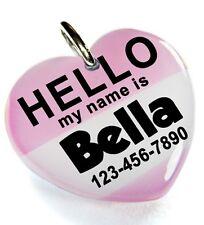 Hello My Name Is Tea Rose heart dog cat cute charm custom pet tag by ID4PET