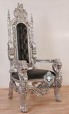 Thron Thronstuhl Massivholz Massivholz Mahagoni Barockstil Silber