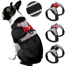 Bling Rhinestones Dog Harness Mesh Padded Reflective Adjustable French Bulldog