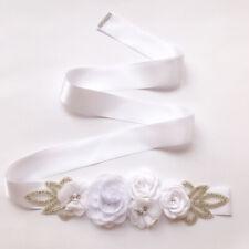Elegant Women Pearls Rose Flower Girls Sash Belt 270cm Bridal Wedding Sash Prop