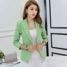 tailleur giacca donna slim corta manica lunga verde chiaro estate S9020 dbfd76d346f