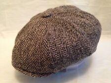 SCOTTISH HARRIS TWEED NEWSBOY MODERN PEAKY BLINDERS CAP GREY HERRINGBONE