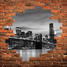 Sticker mural trompe l'oeil mur de pierre pont new york brooklyn réf 848