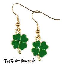TFB - MINI CLOVER DANGLE EARRINGS Rose Gold Drop Irish Flower Kitsch Shamrock St