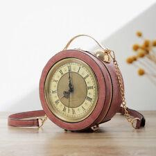 Small Women Real clock purse handbag shoulder bag handmade faux leather bag new