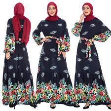 Floral Women Long Sleeve Maxi Dress Abaya Kaftan Islam Cocktail Loose Swing Robe