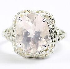• SR009, 6 carat Rose Quartz, Sterling Silver Ladies Ring -Handmade