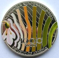 Armenia 2010 Snowdrop 1000 Dram Colour Silver Coin,Proof