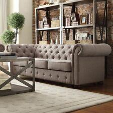 Chestefield Sofa Couch Leder Designer Textil Sitz Polster Garnitur Design 201803