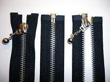 Zip, Zipper, Medium Weight, Open End, Ball & Chain Puller,Metal,YKK, Black