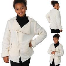 enfants veste peluche teddy de survêtement fille Polaire Douillette Blanc Neuf