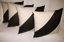 "4 Cream & Black Diagonal Stripe Faux Leather Cushion Covers 16"" 18"" 20"""