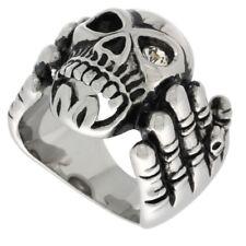 Stainless Steel Skeleton Hand Holding a Skull Biker Ring w/ CZ Stone Eye