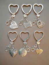 Dog or Cat Memorial Keyring Metal Bag Key Ring Rainbow Bridge Choose Charms
