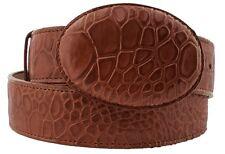 Men Cognac Sea Turtle Pattern Cowboy Belt Genuine Leather Removable Buckle Cinto