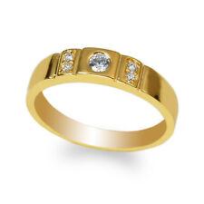 JamesJenny Ladies 10K Yellow Gold Round CZ Wedding Unique Band Ring Size 4-10