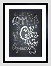 COFFEE CHALKBOARD ILLUSTRATION BLACK FRAMED ART PRINT PICTURE B12X9140