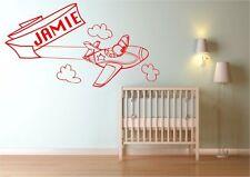 Personalised Aeroplane Airplane Plane Name Wall Sticker Bedroom Decal Mural