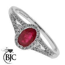 BJC 9ct RUBINO ORO BIANCO & DIAMANTE GRAPPOLO Taglia N FIDANZAMENTO Abito anello