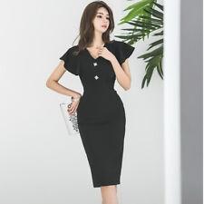0ae416c5dd11 Elegante vestito abito tubino nero scollato maniche aderente slim morbido  4750