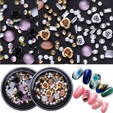 Metal Rose Round Opals Crystal Beads Nail Rhinestones 3D Nail Art Decoration DIY