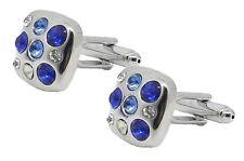 Square Wedding Cufflinks by Cufflinks Direct Quality Mens Silver & Blue Crystal