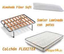 Oferta cama: Colchon Visco Aloe + Somier LAMA 100 + Patas + Almohada Fibra