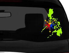 "Filipino Philippine Flag Vinyl Car Decal Sticker 7.5""(H) C#3 Iguana Green Map RL"