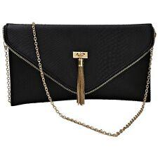 Womens Animal Croc Print Faux Leather Envelope Style Clutch Bag Ladies Purse