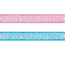 Happy Christening Blue / Pink Prismatic Foil Banner Decoration 3.6m (12')