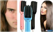 Men &Women -2 in 1 LCD Digital PTC Heating Ionic Hair Straightener Styling Brush